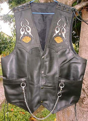 Leather Vest with Snake Inlays