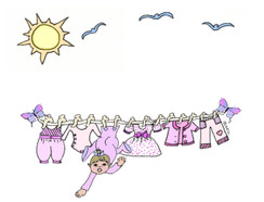 Baby Girl Clothes Line cards