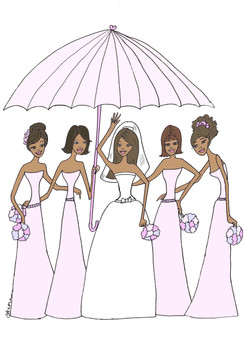 "Bride with 4 Bridesmaids in pink under Umbrella ""Bridal Shower"" cards"