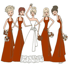 Bride with 4 Bridesmaids in red cards