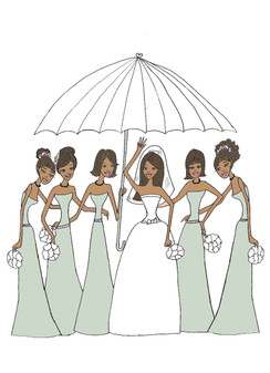 "Bride with 5 Bridesmaids in sage under umbrella ""bridal shower"" cards"