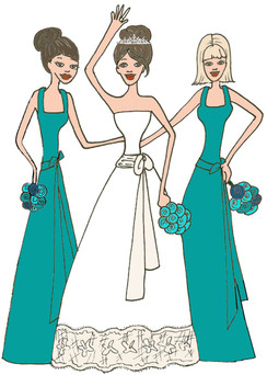 Bride with 2 Bridesmaids in teal cards