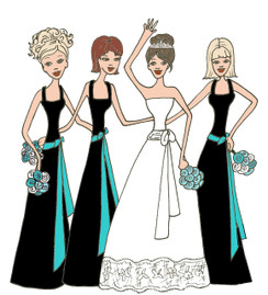 Bride with 3 Bridesmaids in black/teal cards