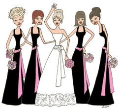 Bride with 4 Bridesmaids in black/ pink cards