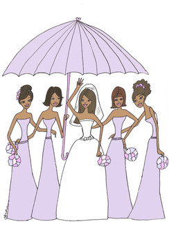 "Bride with 4 Bridesmaids in lavender under umbrella ""Bridal Shower"" cards"