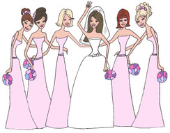 Bride with 5 Bridesmaids in pink cards