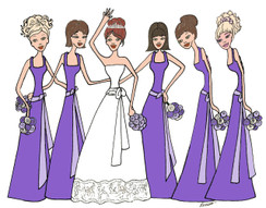 Bride with 5 Bridesmaids in purple cards
