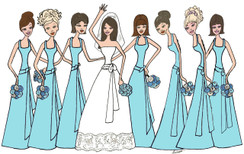 Bride with 7 Bridesmaids in tiffany blue cards