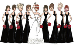 Bride with 8 Bridesmaids in black cards