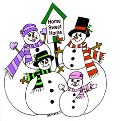 Snowman Family Snowmen Home Sweet Home Christmas cards