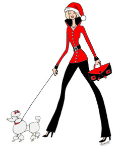 Christmas Diva with Poodle cards