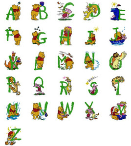 DISNEY WINNIE THE POOH & FRIENDS CROSS STITCH FONTS ALPHABETS  MACHINE EMBROIDERY DESIGNS