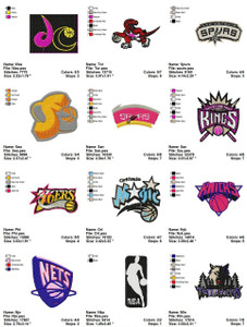 NBA BASKETBALL LOGOS SPORTS MACHINE EMBROIDERY DESIGNS