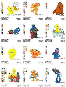 SESAME STREET MACHINE EMBROIDERY DESIGNS