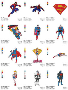 SUPER HEROES SPIDER MAN BAT MAN EMBROIDERY MACHINE DESIGNS