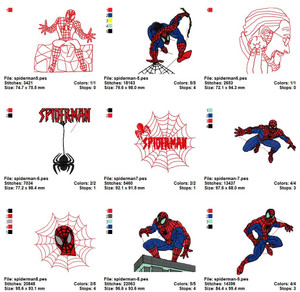 Spider Man Embroidery Machine Designs Set of 22