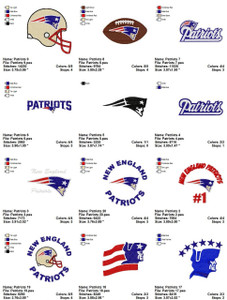 New England Patriots Embroidery Designs NFL Set of 20