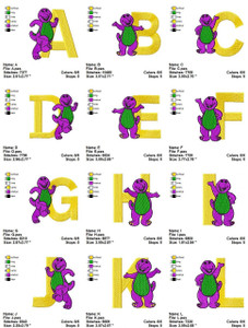 BARNEY ALPHABETS CARTOON  MACHINE EMBROIDERY DESIGNS PATTERNS INSTANT DOWNLOAD