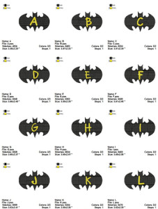 BATMAN ALPHABETS CARTOON  MACHINE EMBROIDERY DESIGNS PATTERNS INSTANT DOWNLOAD