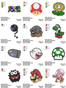 SUPER MARIO BROS GAME 4X4 MACHINE CHARACTER  EMBROIDERY DESIGNS INSTANT DOWNLOAD CUTE COLLECTION
