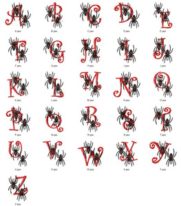 SPIDER ALPHABETS A-Z  EMBROIDERY DESIGNS INSTANT DOWNLOAD CUTE COLLECTION