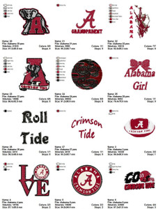 Alabama Crimson Tide Football  EMBROIDERY DESIGNS INSTANT DOWNLOAD BEST COLLECTION