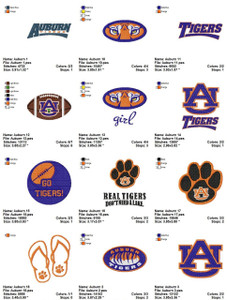 Auburn Tigers Univeristy Sports Logos  EMBROIDERY DESIGNS INSTANT DOWNLOAD BEST COLLECTION