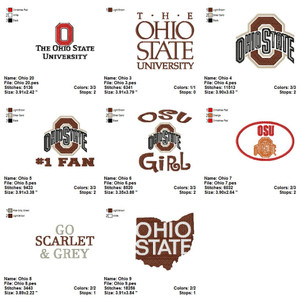 Ohio State Buckeyes football  EMBROIDERY DESIGNS INSTANT DOWNLOAD BEST COLLECTION