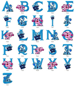 Blues Clues CARTOON CHARACTER ALPHABETS FONT   EMBROIDERY DESIGNS INSTANT DOWNLOAD HUGE  COLLECTION
