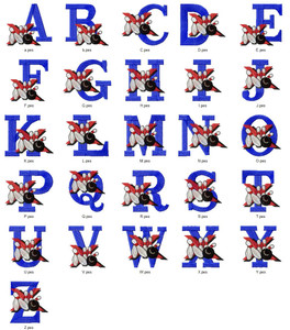 BOWLING HOBBY SPORTS ALPHABETS FONT  EMBROIDERY DESIGNS INSTANT DOWNLOAD HUGE  COLLECTION