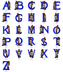 BOY GENIUS CARTOON CHARACTER ALPHABETS FONT EMBROIDERY DESIGNS INSTANT DOWNLOAD HUGE  COLLECTION