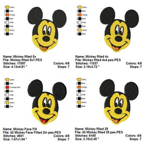 MICKEY MOUSE FILLED DISNEY EMBROIDERY DESIGNS INSTANT DIGITAL DOWNLOAD 4 SIZES