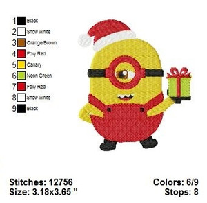 Minion Christmas EMBROIDERY DESIGNS INSTANT DIGITAL DOWNLOAD