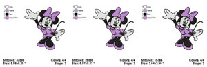 MINNIE MOUSE PURPLE FILL EMBROIDERY DESIGNS INSTANT DIGITAL DOWNLOAD 3 SIZES