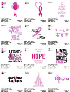 THINK PINK BREAST CANCER AWARENESS EMBROIDERY MACHINE DESIGNS DIGITAL DOWNLOAD SET OF 24