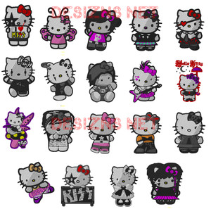 New Set OF 19 HELLO KITTY 4x4 Embroidery Machine Designs Instant Download Mega Set