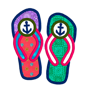 ANCHOR FLIP FLOPS APPLIQUE 3 SIZES Embroidery Machine Patterns Designs Instant Download