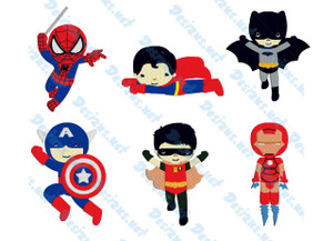 SUPER HERO Set of 6 Embroidery Machine Patterns Designs Instant Download