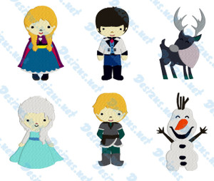 SNOW PRINCESS SET Set of 6 Embroidery Machine Patterns Designs Instant Download