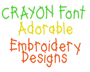 CRAYONS EMBROIDERY FONTS A - Z , 0 - 9 ALPHABETS NUMBERS  DESIGNS PATTERNS - KIDS FUN SETS OF 62