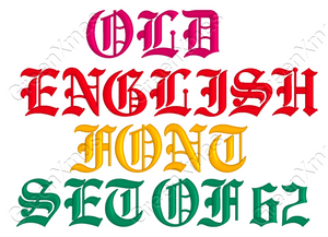 OLD ENGLISH EMBROIDERY FONTS MACHINE DESIGNS SET OF 62
