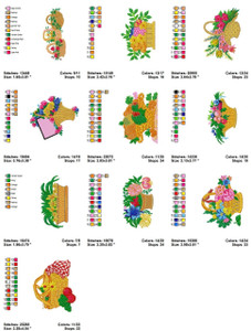 BASKET OF FLOWERS COLLECTION EMBROIDERY DESIGNS