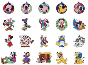 DISNEY CHRISTMAS COLLECTION MICKEY MINNIE DONALD GOOFY PLUTO EMBROIDERY DESIGNS