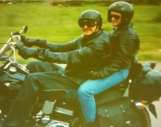 Bill and Melinda (Fox Creek Leather Office Manager) cruising the roads back in 1989 on Bill's 1980 Harley Davidson Wide Glide.