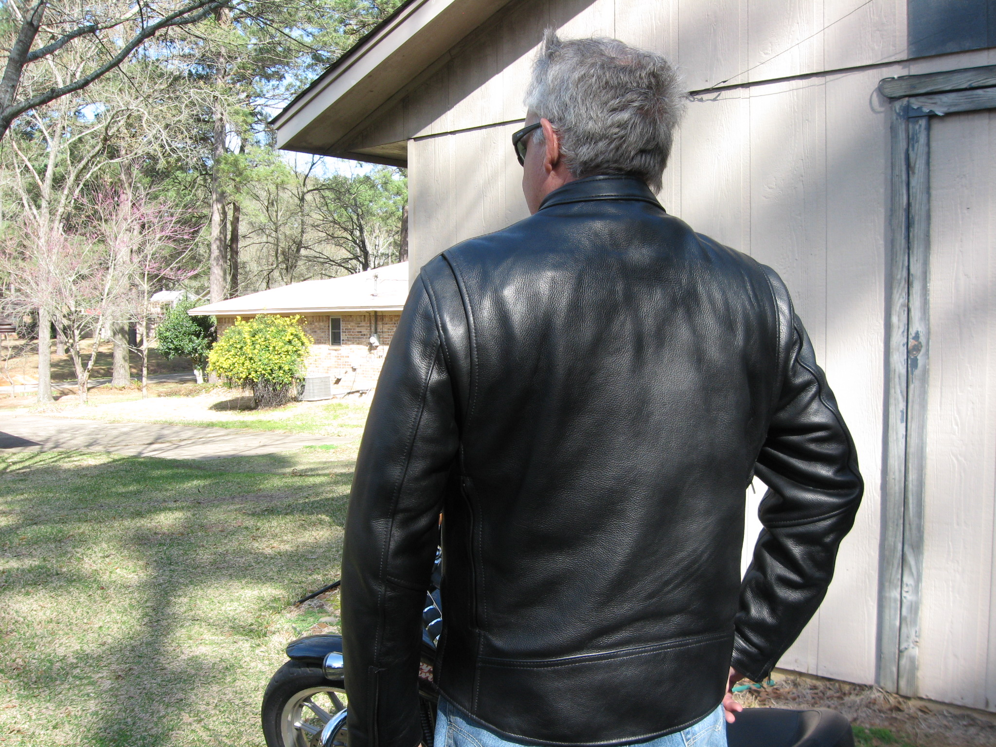 Back view of our men's leather motorcycle jacket