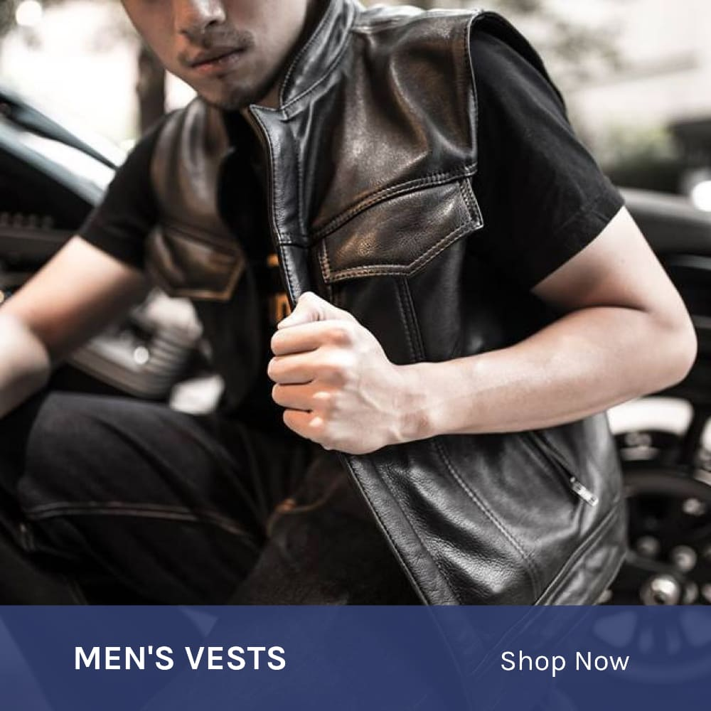 Men's leather biker vests