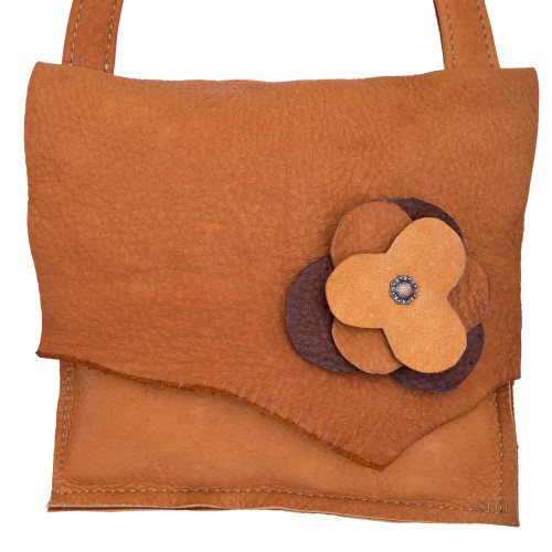 Buffalo Leather Flower Purse