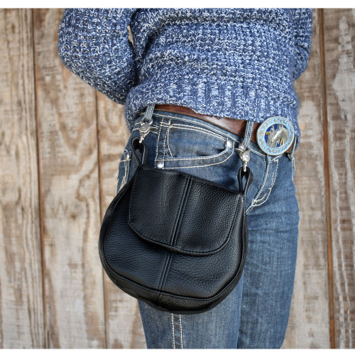 Allison is modeling the Leather Belt Purse in black.