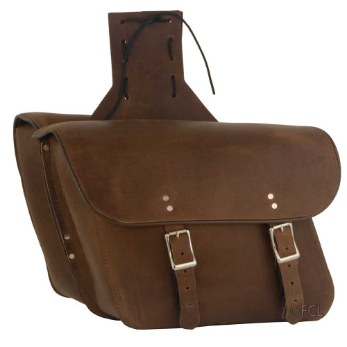 Brown Leather Motorcycle Saddlebags with Yoke