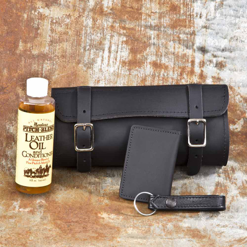 Our Small Gift Set includes our Tool Bag, Leather Oil, Money Clip Wallet (with id window), and Leather Key Fob (choose black or brown).